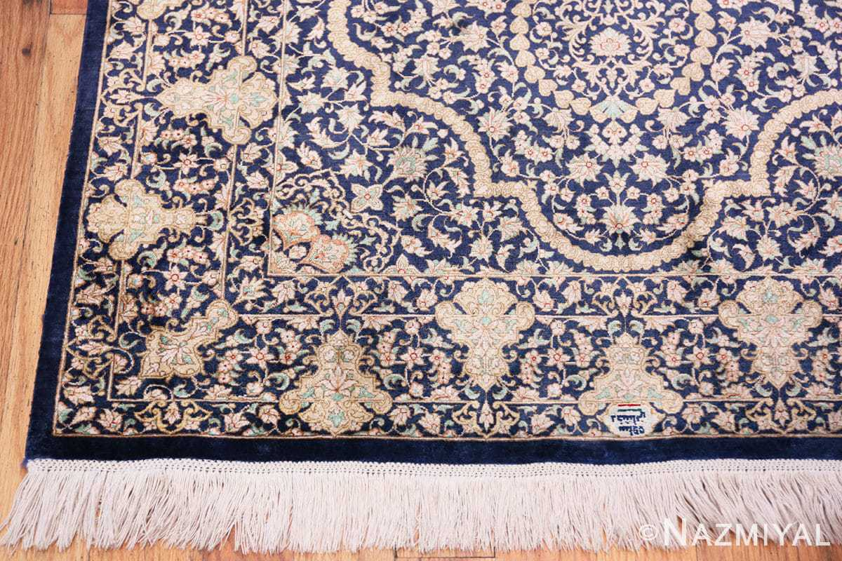Corner Fine Persian silk Qum rug 70117 by Nazmiyal