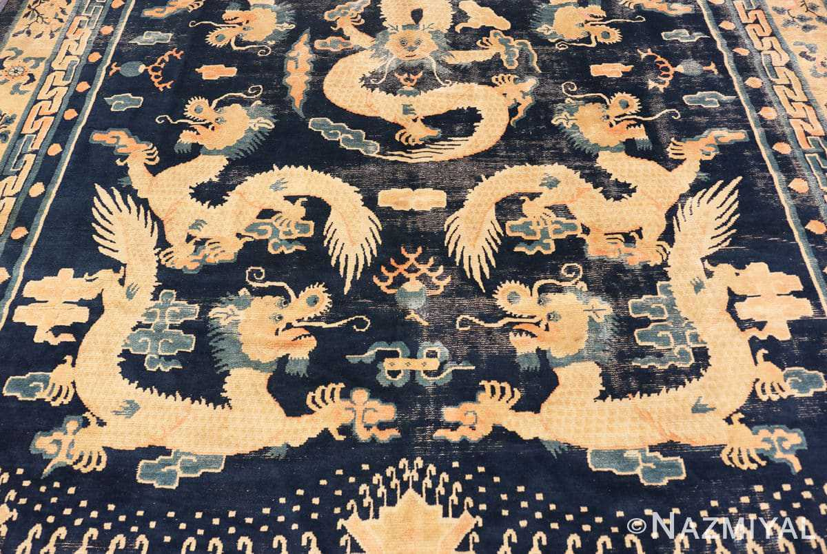 Field Antique Chinese Dragon Design rug 70126 by Nazmiyal