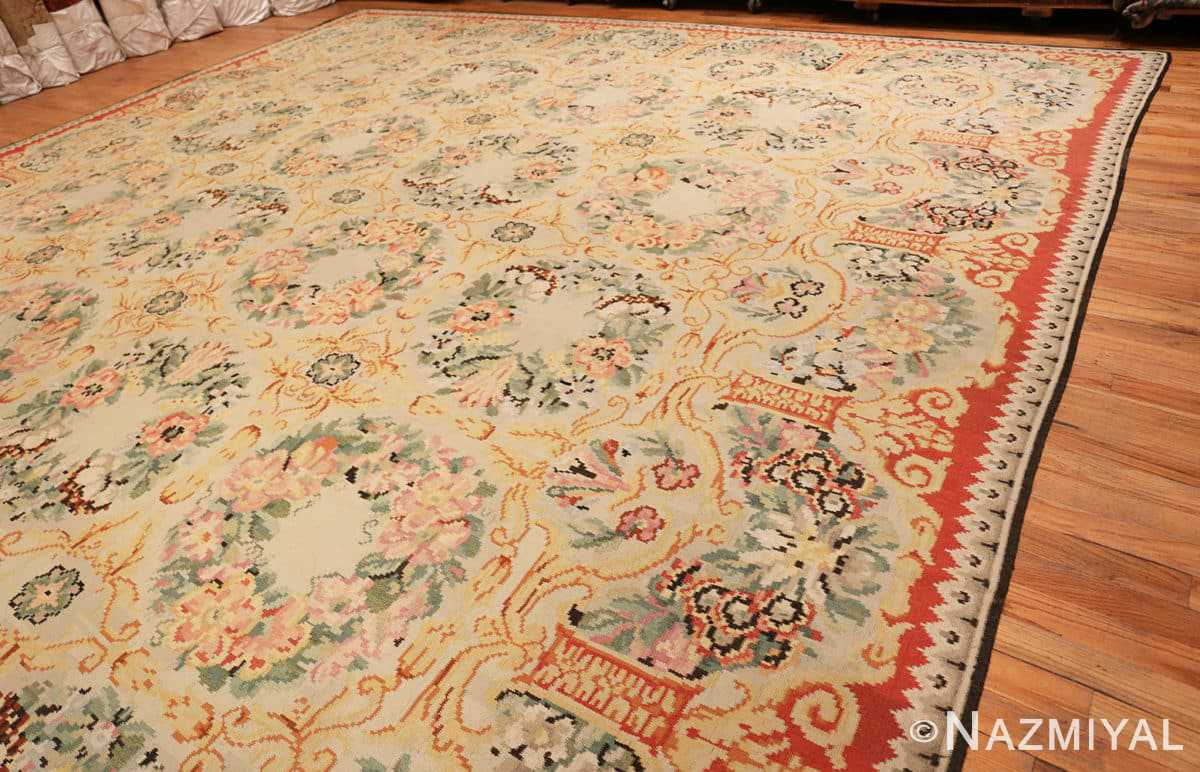 Full Antique Floral Romanian Bessarabian Kilim rug 70101 by Nazmiyal