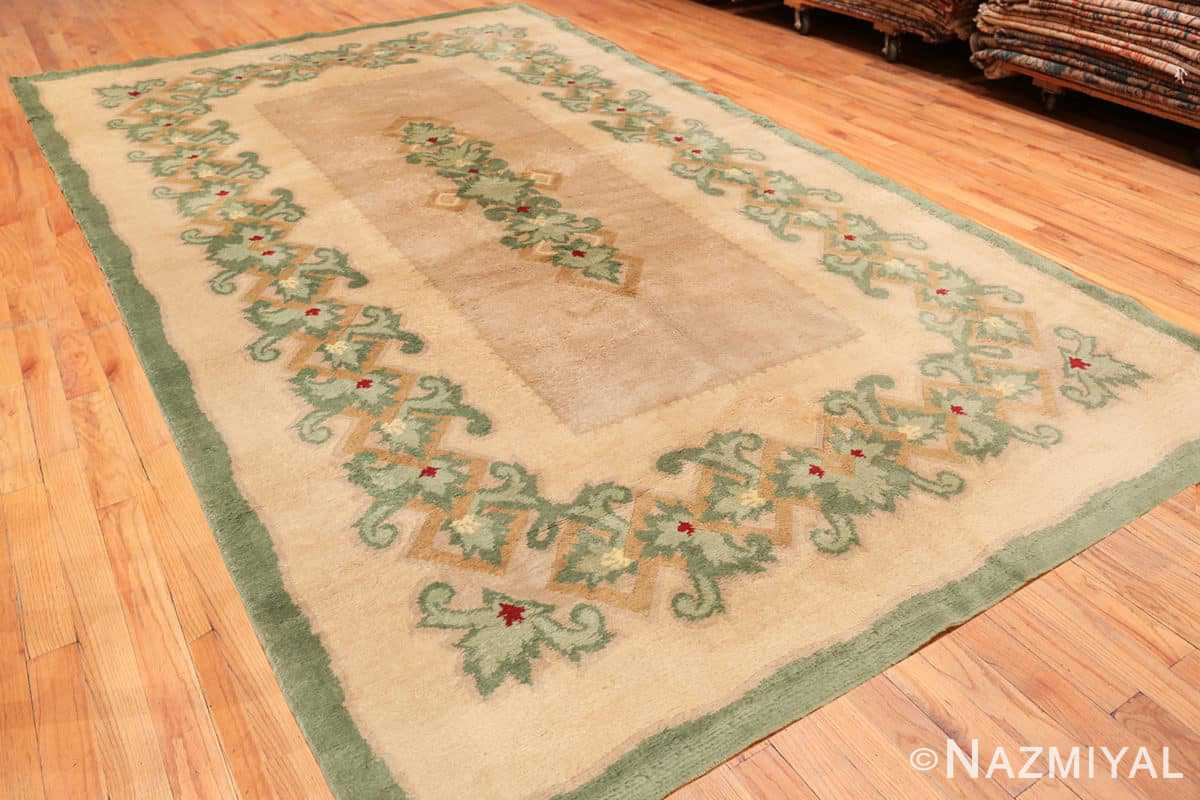 Full Antique Green French Art Deco rug 70152 designed by Leleu from the Nazmiyal collection