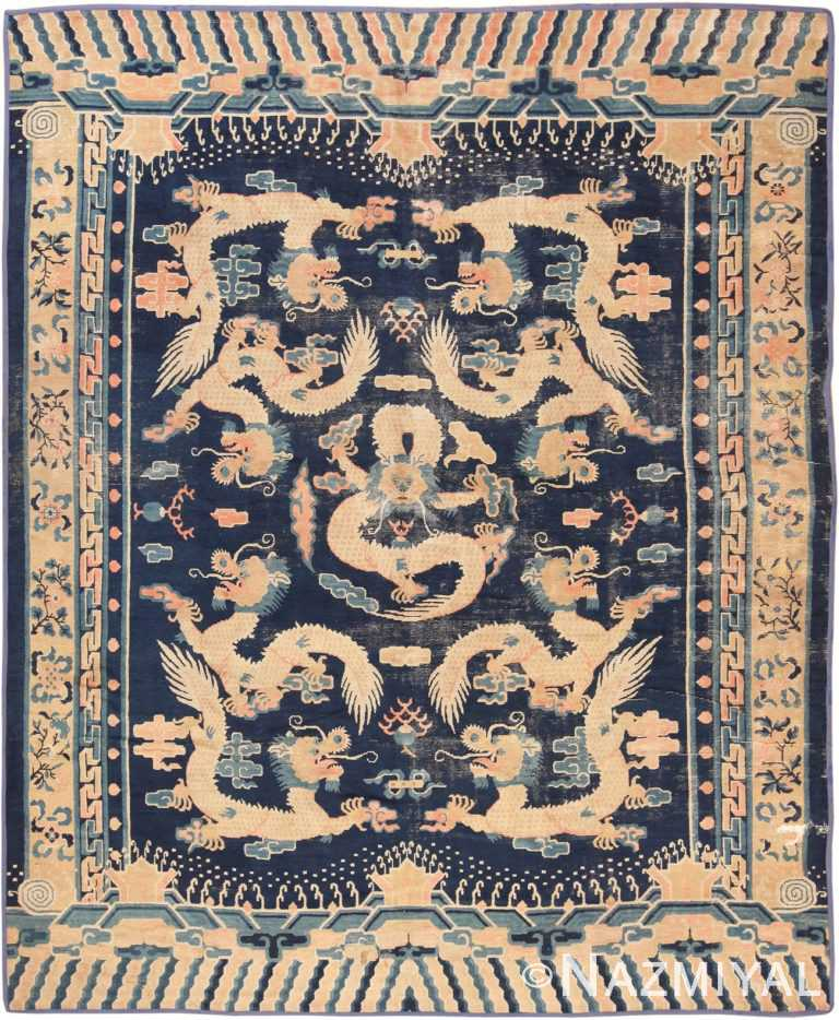 Full view Antique Chinese Dragon Design rug 70126 by Nazmiyal