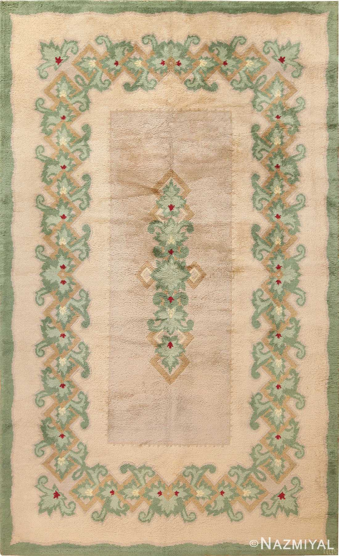 Full view Antique Green French Art Deco rug 70152 designed by Leleu from the Nazmiyal collection in NYC.