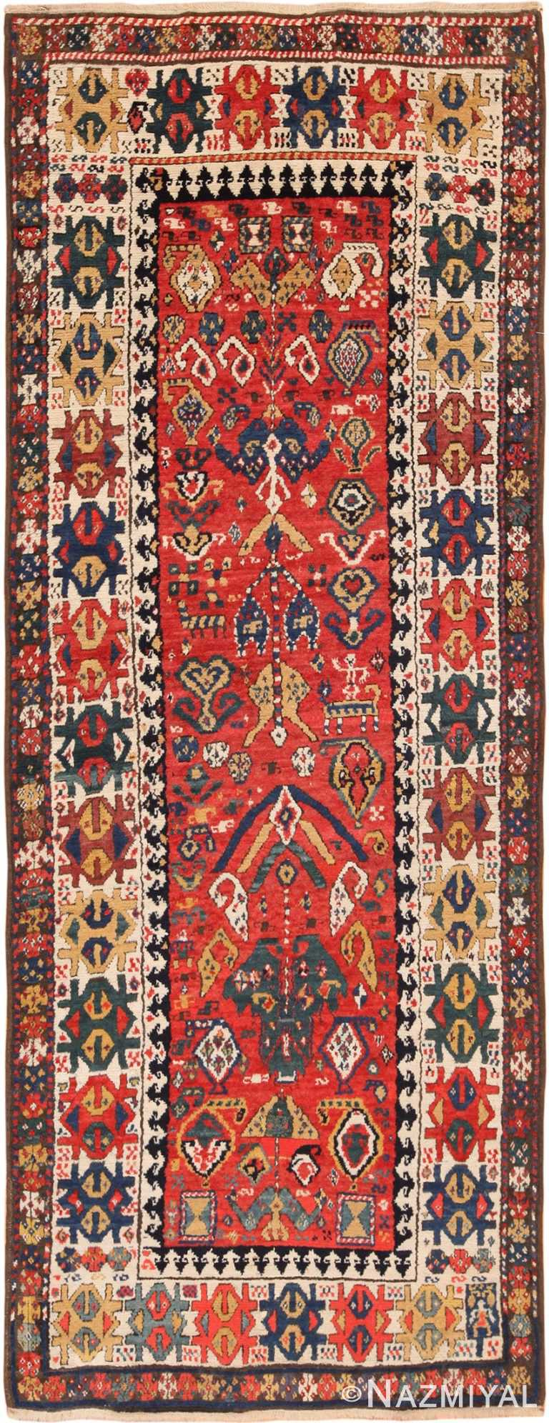 Full view Antique Caucasian Kazak Runner Rug #70122 Nazmiyal Antique Rugs in NYC
