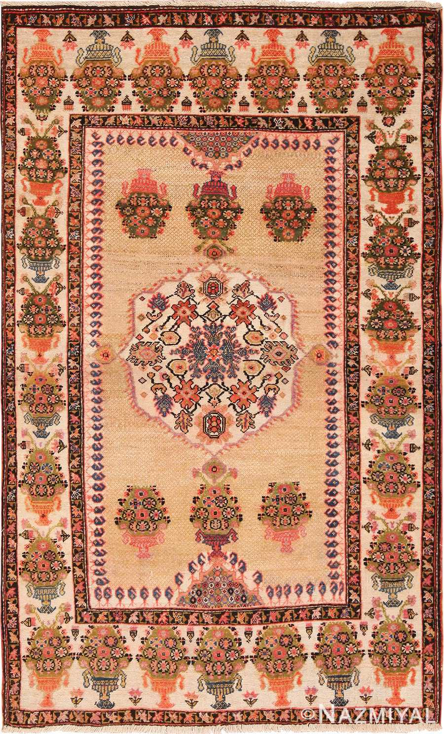 Full view Floral Antique Persian Farahan rug 70123 by Nazmiyal