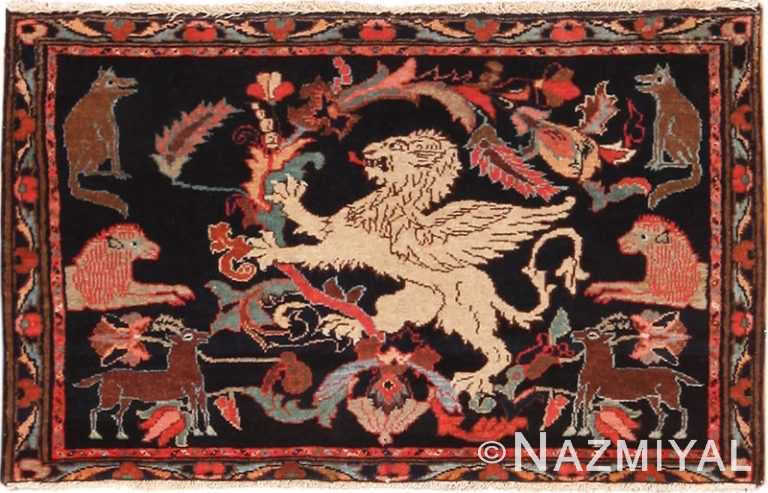 Full view Antique Persian Malayer Animal design rug 70131 by Nazmiyal