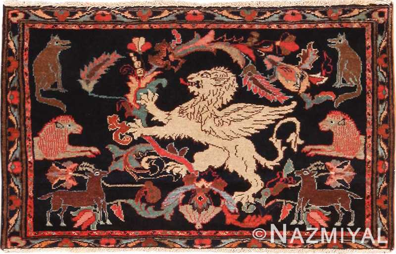 Full view Antique Persian Malayer Animal design rug 70131 by Nazmiyal