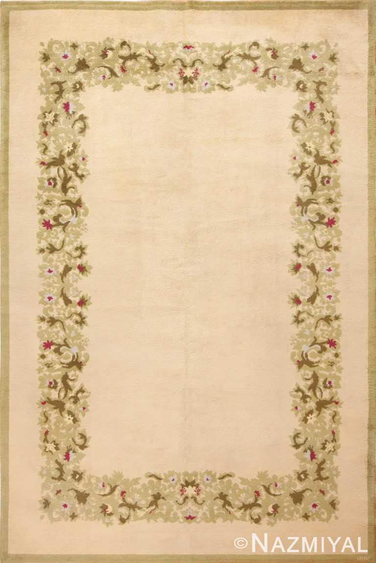 Full view Antique room size French Art Deco designed by Leleu rug 70151 from the Nazmiyal collection,