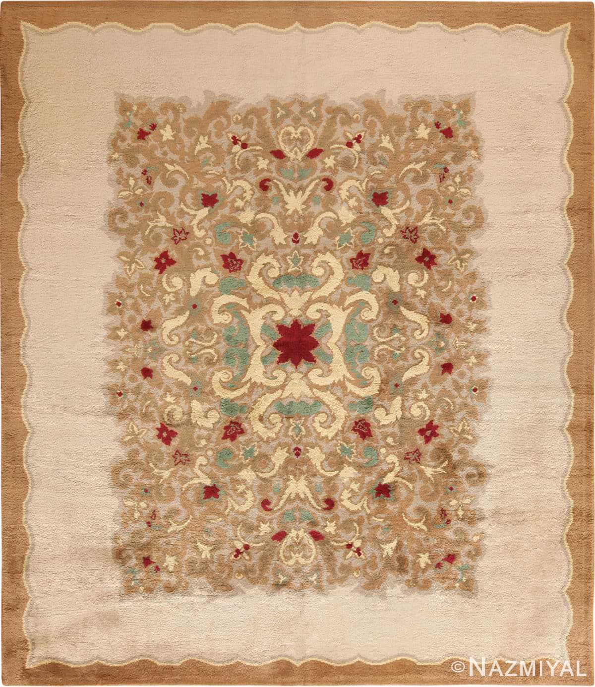 Full view Antique room size French Art Deco rug 70146 by Nazmiyal