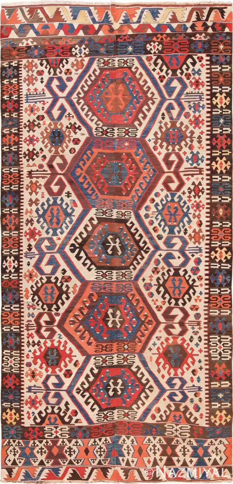 Full view Antique Turkish Konya Kilim Rug 70121 by Nazmiyal