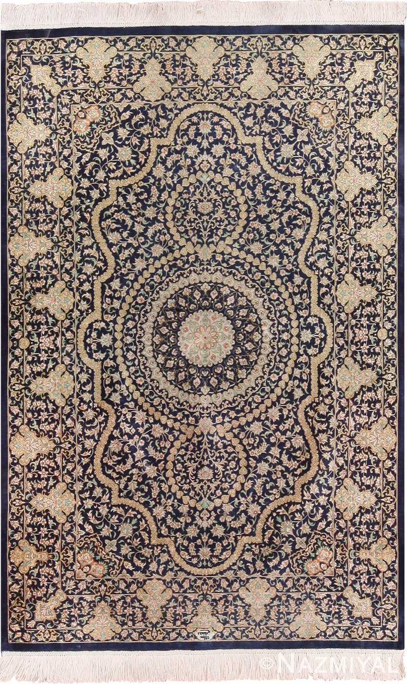 Full view Fine Persian silk Qum rug 70117 by Nazmiyal