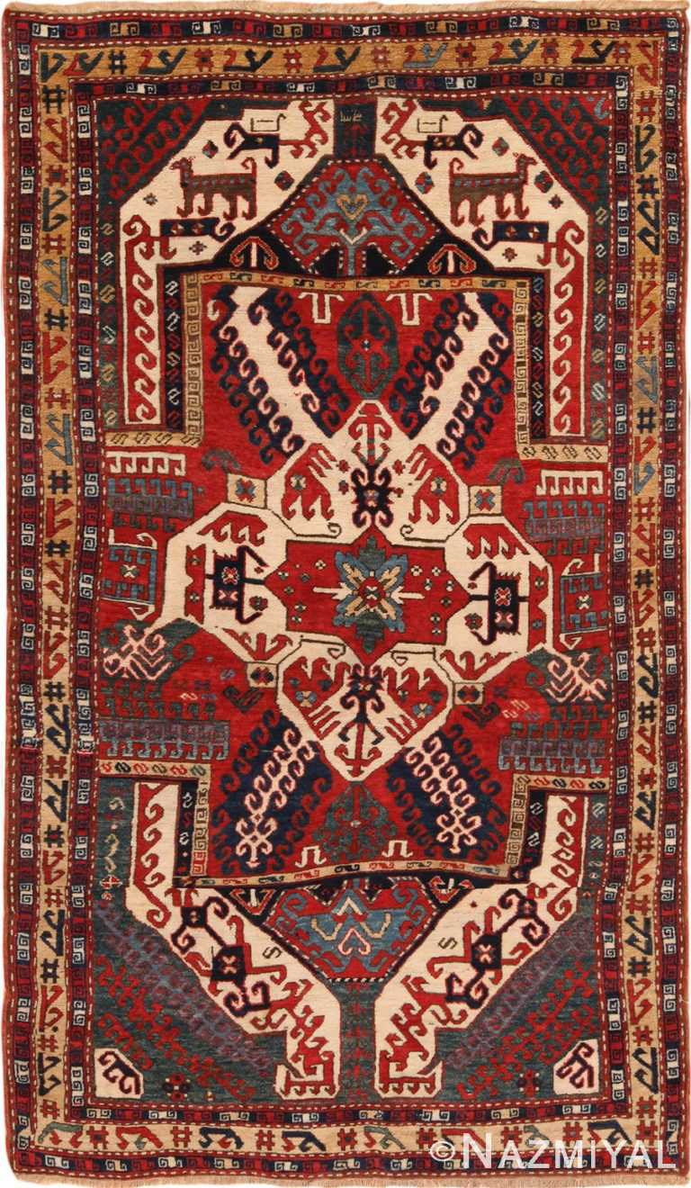 Full view Caucasian Antique Kasim Ushag Rug #70128 by Nazmiyal Antique Rugs in NYC