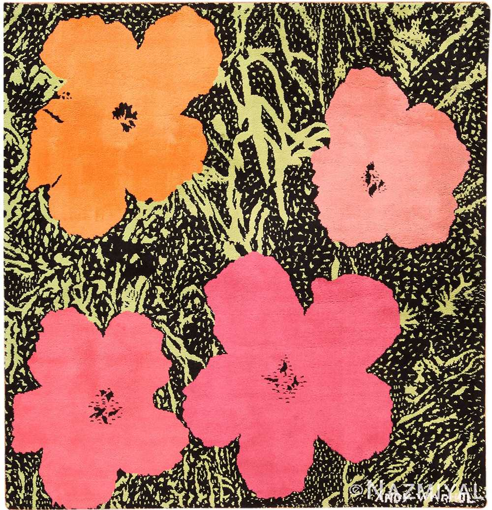 Full view Square Vintage Andy Warhol Flowers rug 70138 by Nazmiyal Collection