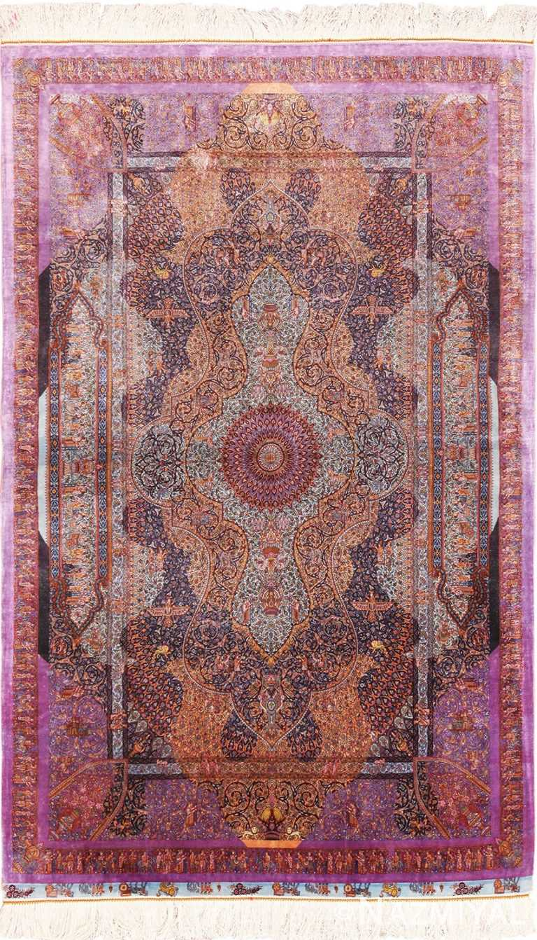 Full view Vintage Persian silk Qum rug 70118 by Nazmiyal.