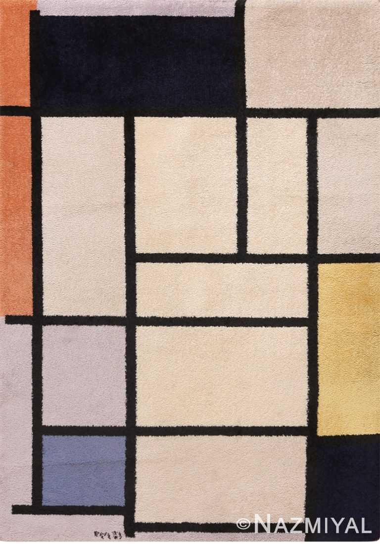 Full view Vintage Scandinavian Piet Mondrian art rug 70147 by Nazmiyal