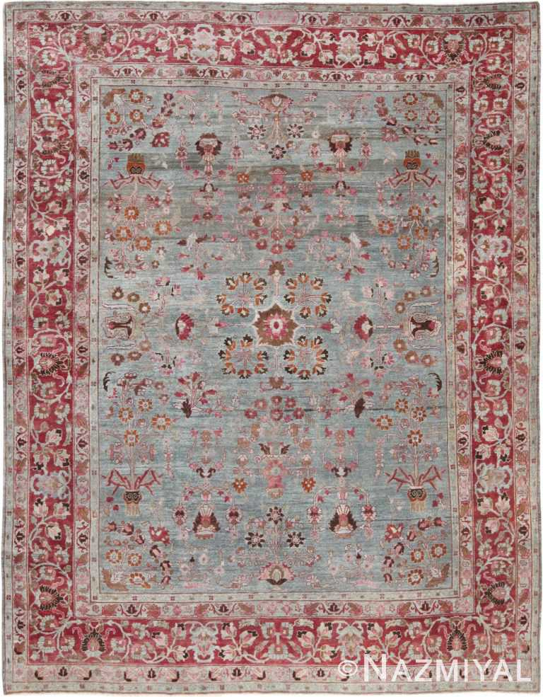 Full Picture of Light Blue Antique Persian Khorassan Rug #49840 from Nazmiyal Antique Rugs in NYC