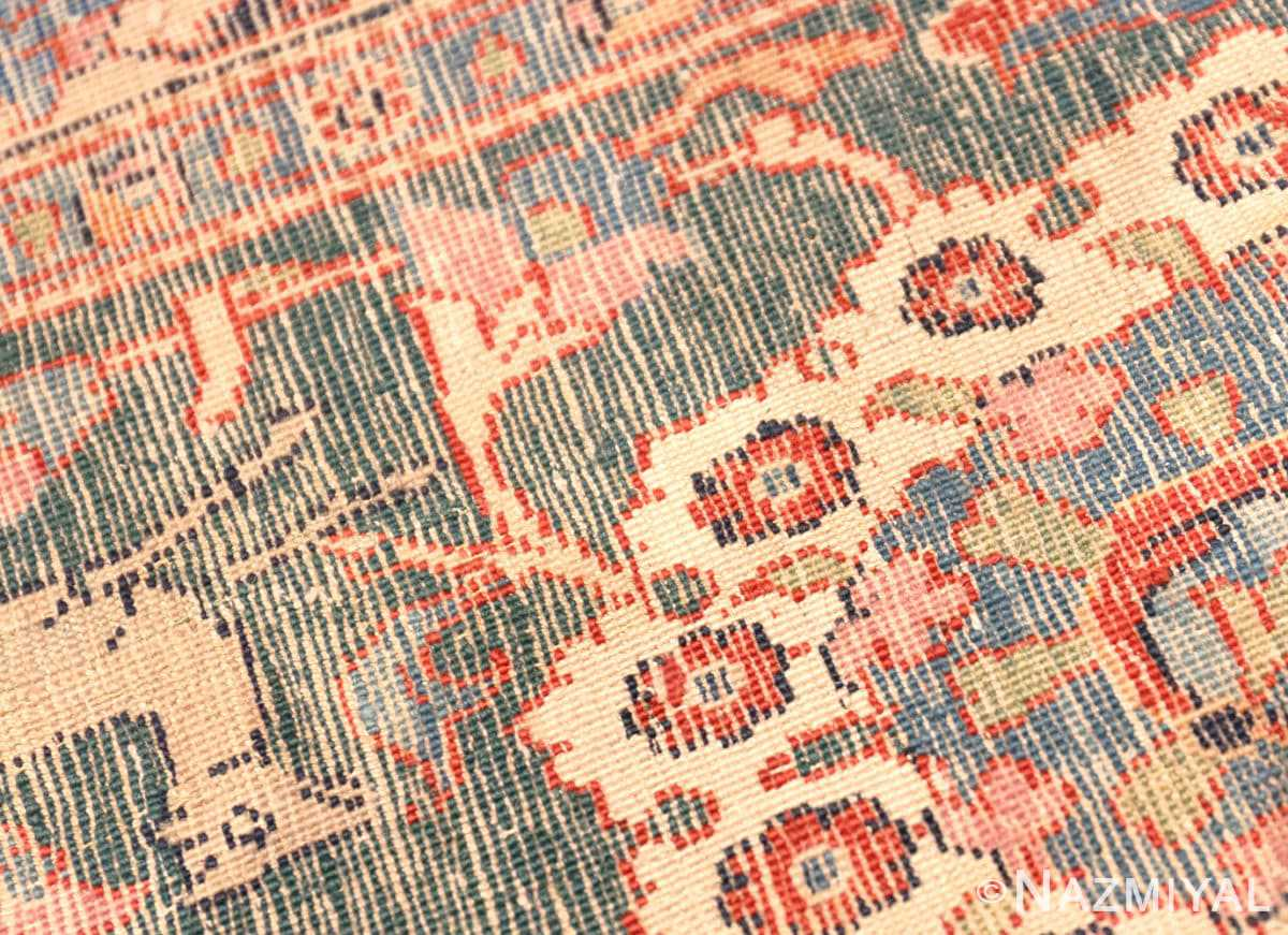 Weave detail Antique floral Persian Tehran rug 70135 by Nazmiyal