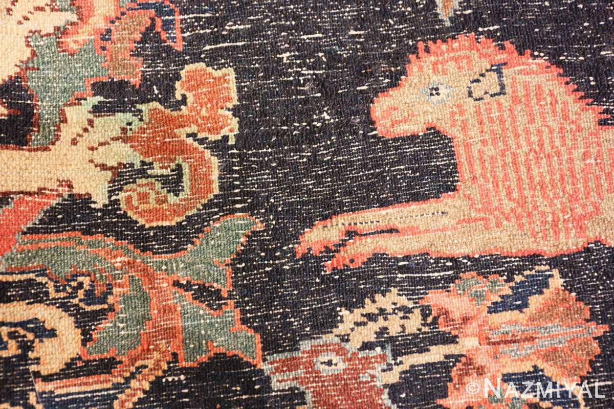 Weave detail Antique Persian Malayer Animal design rug 70131 by Nazmiyal