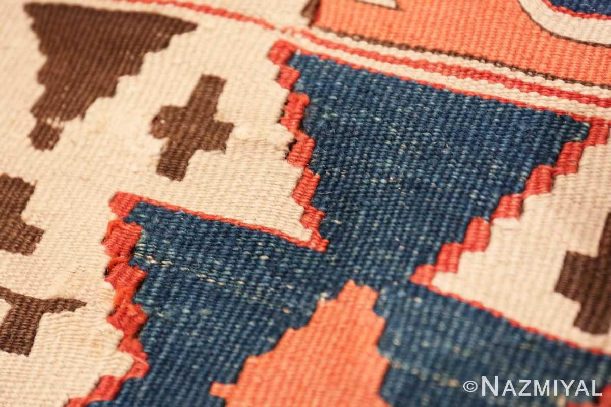 Weave detail Antique Turkish Konya Kilim Rug 70121 by Nazmiyal