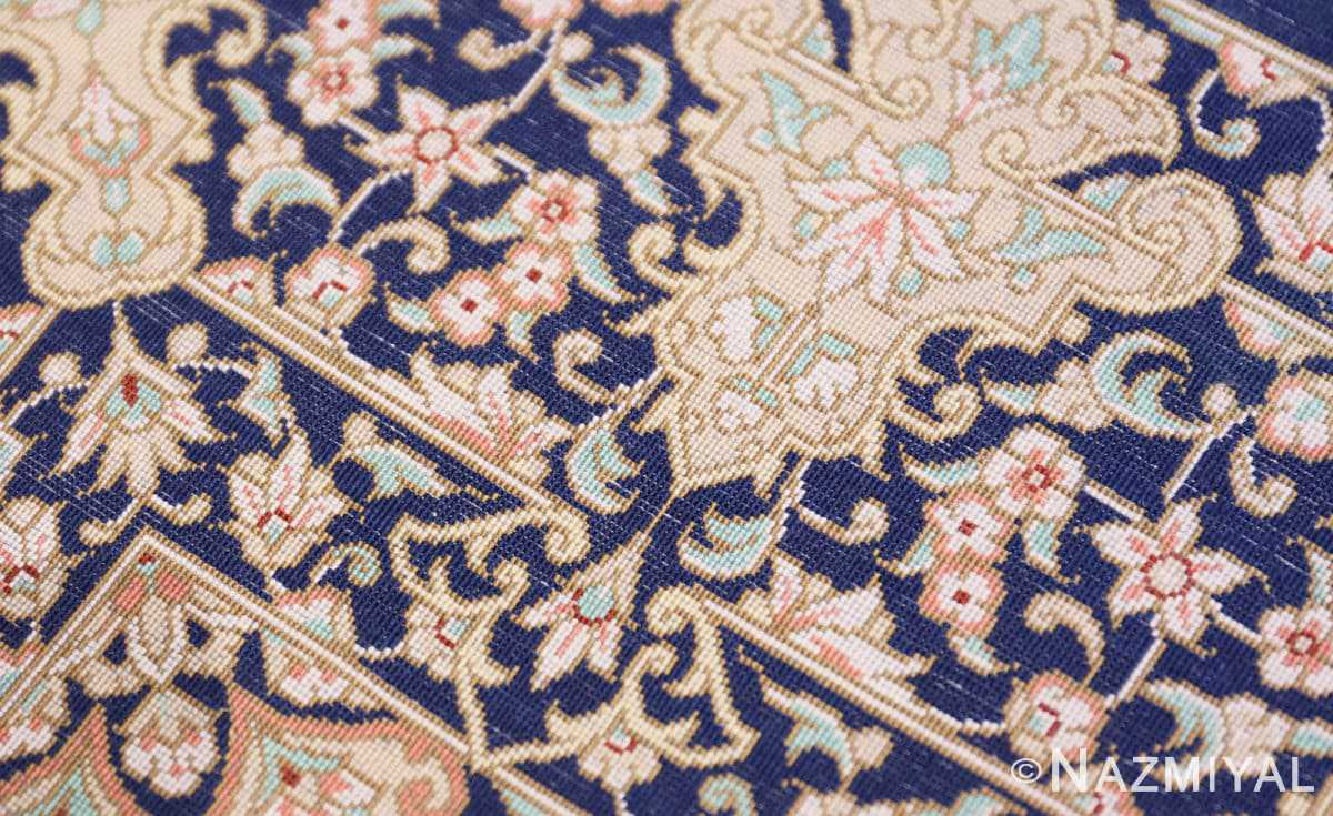 Weave detail Fine Persian silk Qum rug 70117 by Nazmiyal