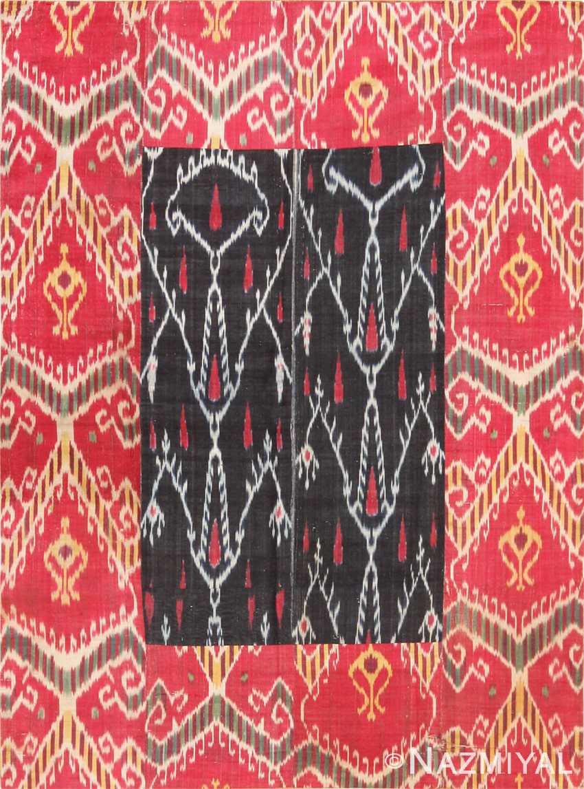 Full view Antique Silk Ikat Uzbek textile 70173 by Nazmiyal