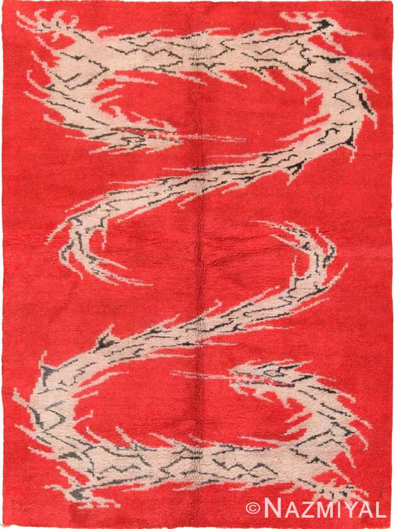 Full view Antique Indian dragon design rug 70150 by Nazmiyal