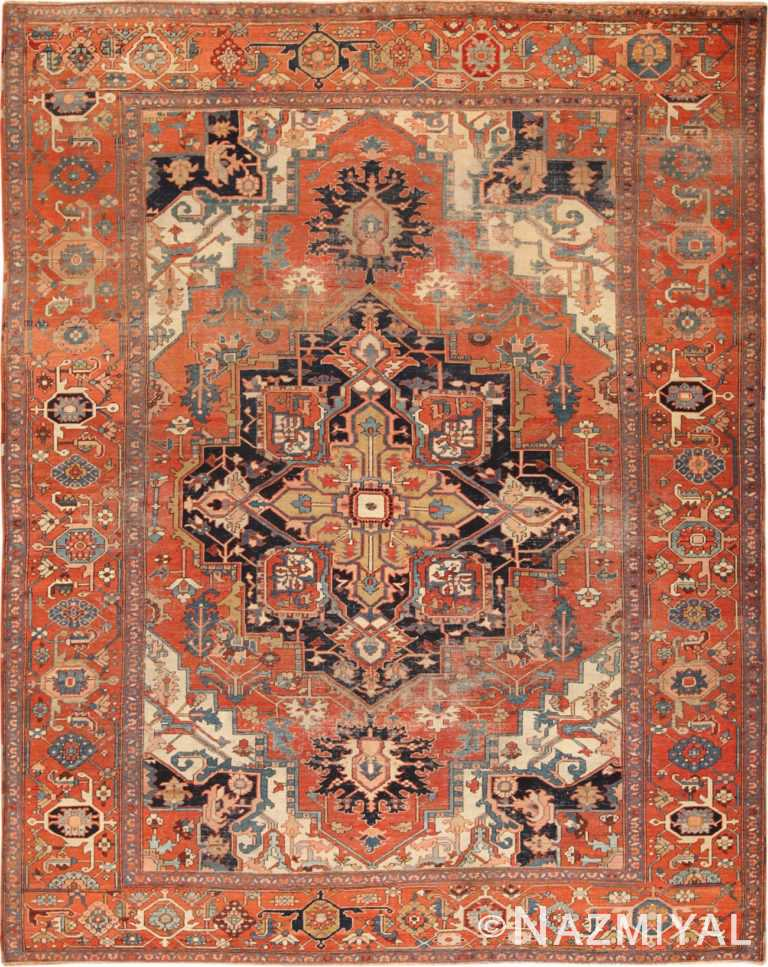 Full view Antique Persian Heriz rug 70164 by Nazmiyal