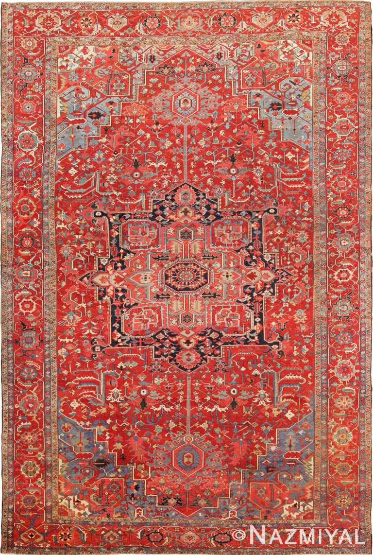 Full view Antique Persian Heriz Serapi rug 70153 by Nazmiyal
