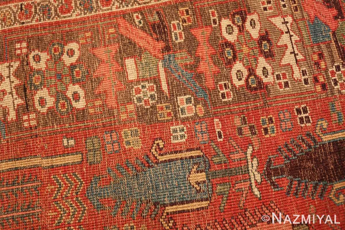 Weave detail Small Antique Persian Bidjar rug 70155 by Nazmiyal