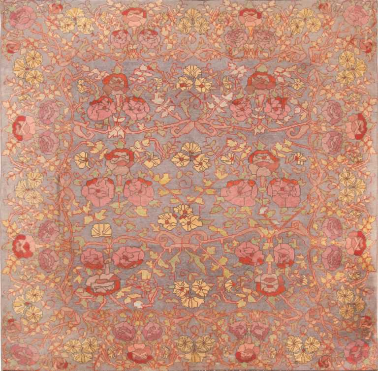 Full view floral square size Donegal Irish rug 70224 by Nazmiyal