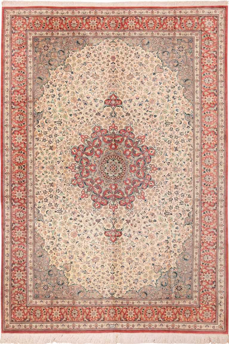 Full view vintage Persian Silk Qum rug 49700 by Nazmiyal