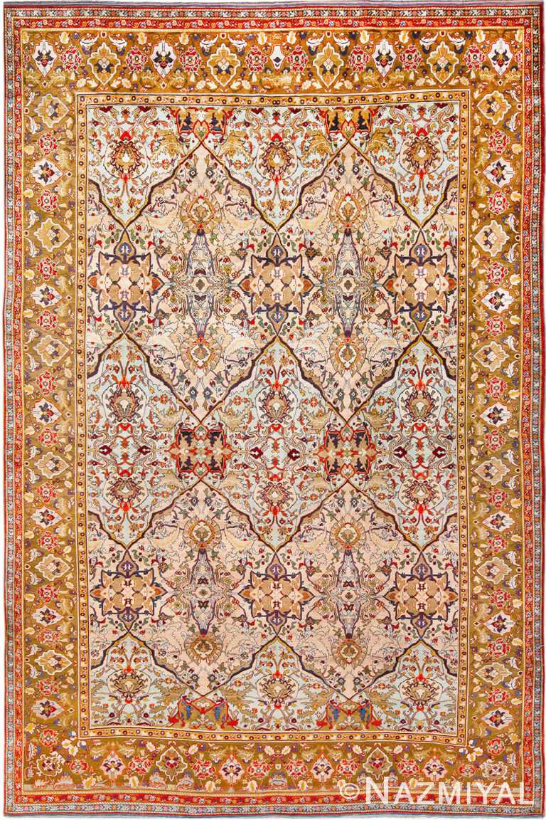 Antique Persian Silk Heriz Rug 70216 from Nazmiyal Antique Rugs in NYC
