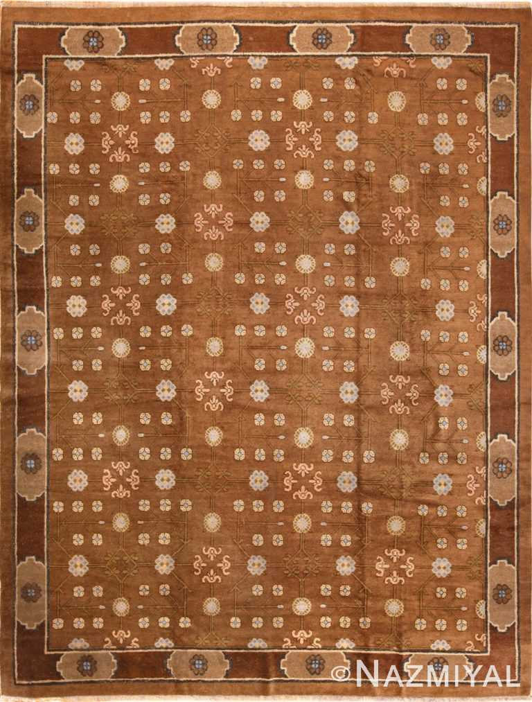 Full view antique Brown Mongolian rug 70145 by Nazmiyal antique rugs
