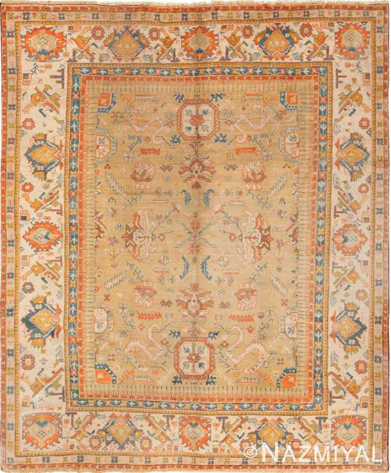Antique Room Size Turkish Tribal Oushak Rug #70222 by Nazmiyal Antique Rugs