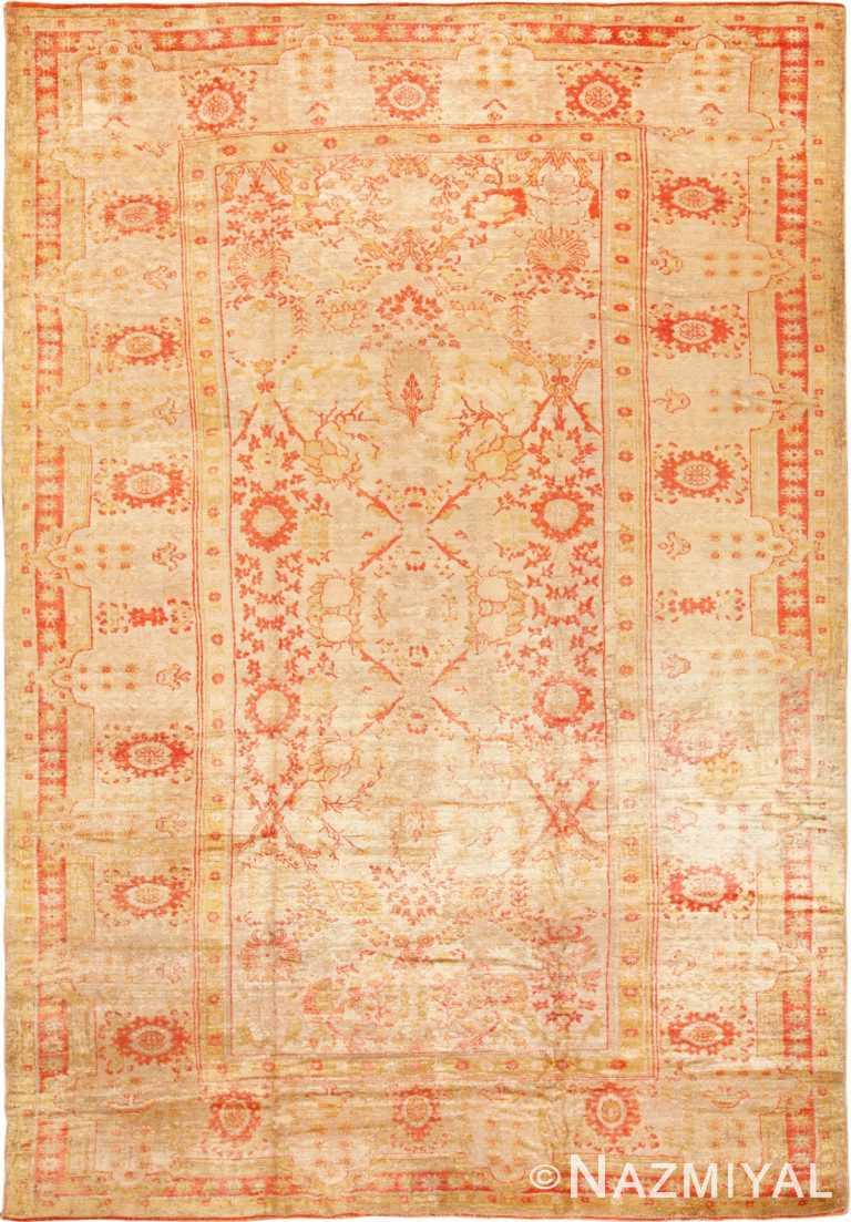 Full view antique Oushak Turkish rug 70235 by Nazmiyal