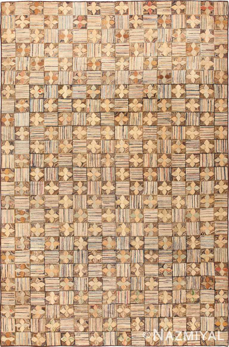 Room Size Antique Earth Tone American Hooked Rug #50172 by Nazmiyal Antique Rugs