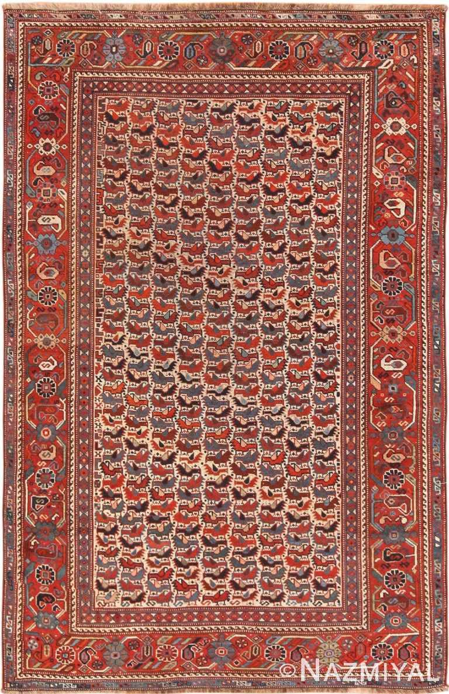 Full view Antique Persian Qashqaie bird design rug 70212 by Nazmiyal