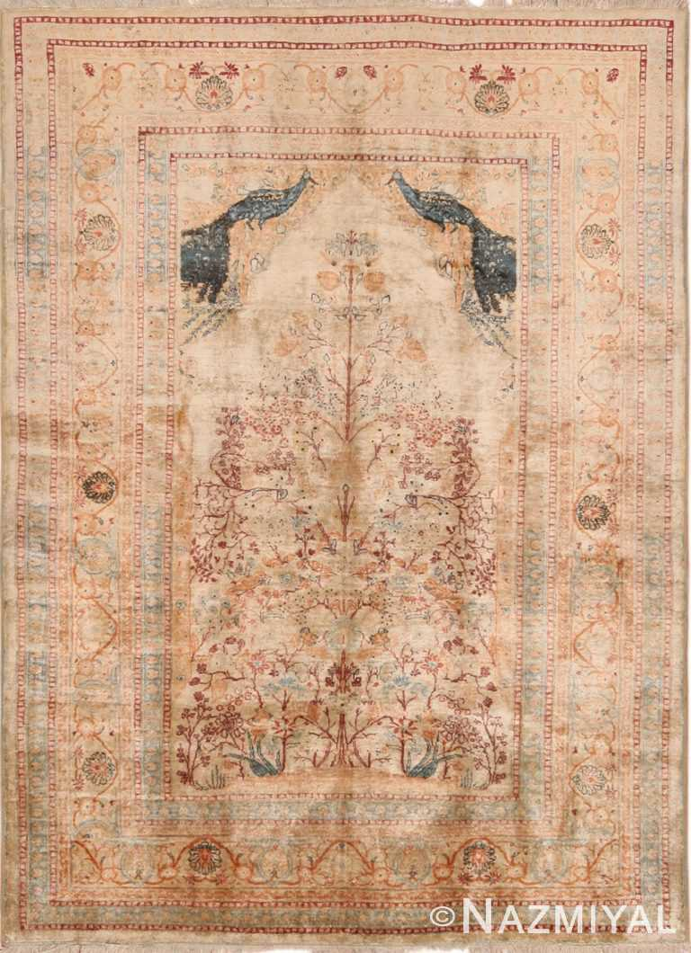 Full Antique Persian Tabriz Silk Prayer Rug #70227 by Nazmiyal