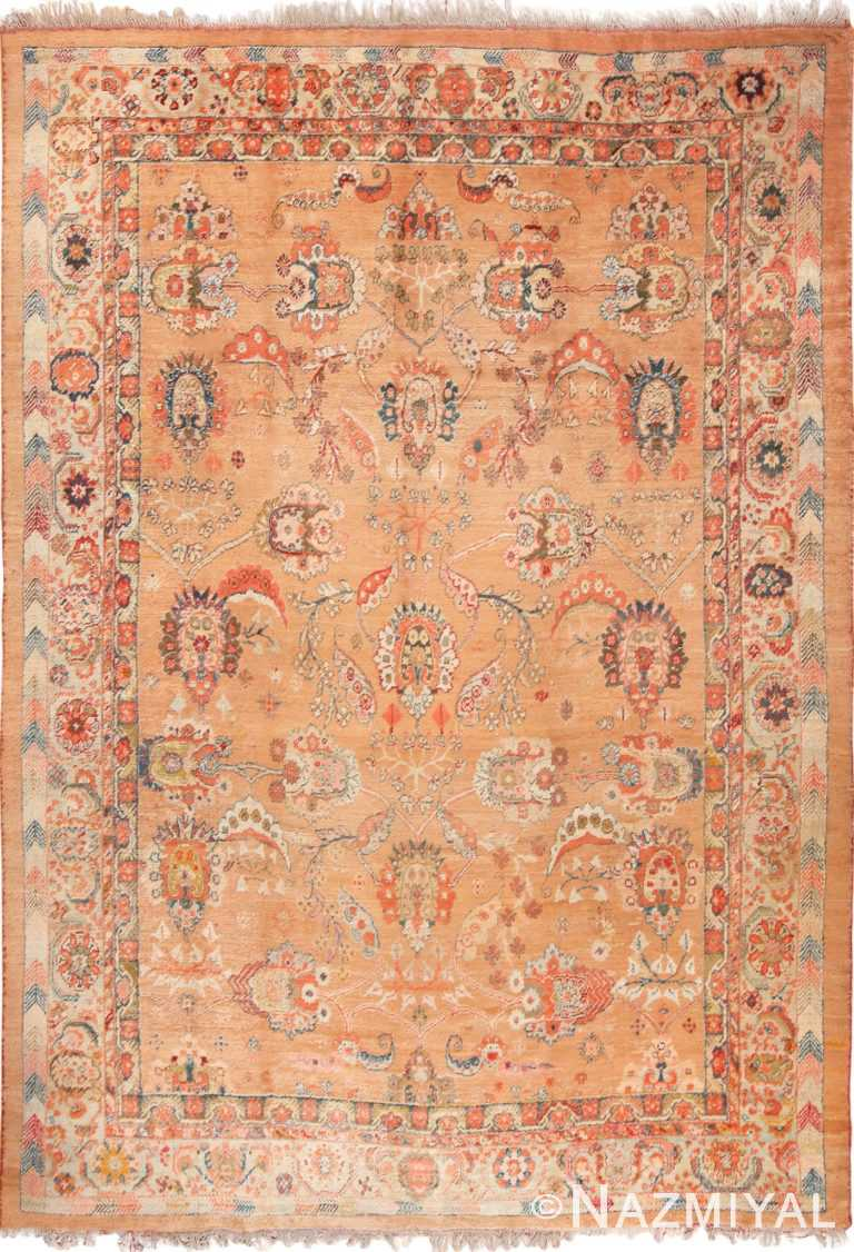 Full view antique Turkish Oushak Angora rug 70221 by Nazmiyal