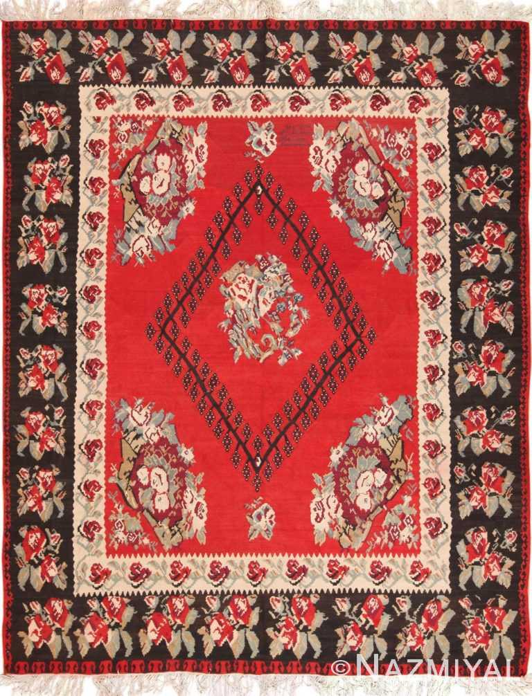 Full view Red Vintage Turkish Kilim rug 50532 by Nazmiyal