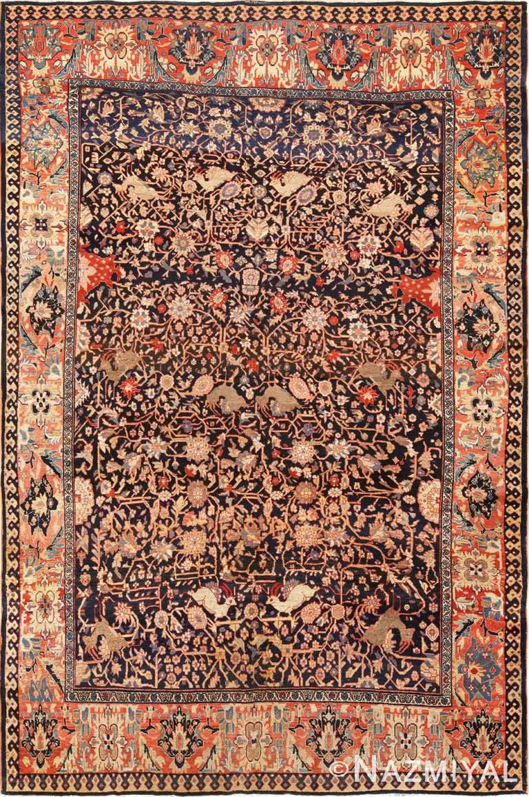 Full view Antique Persian Faharan Sahouk Rug 70234 by Nazmiyal
