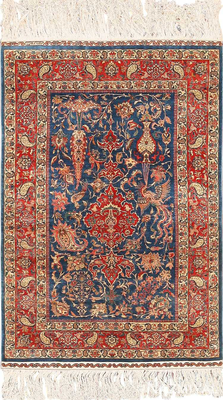 Full view vintage Turkish silk rug 70003 by Nazmiyal