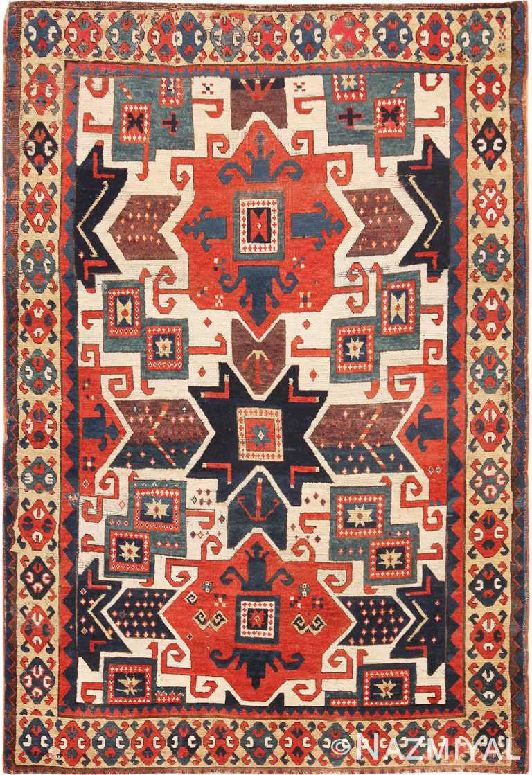 Rare Antique Caucasian Star Kazak Rug 70180 from Nazmiyal Antique Rugs in NYC