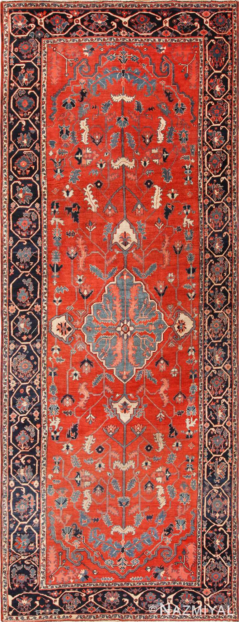 Rare Long And Narrow Antique Persian Heriz Rug 70261 by Nazmiyal Antique Rugs in NYC
