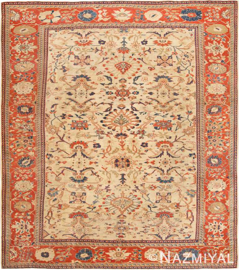 Ivory Antique Persian Sultanabad Rug 70161 from Nazmiyal Antique Rugs in NYC