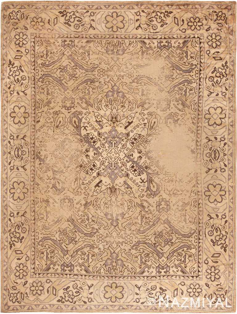 Decorative Grey Antique Shabby Chic Turkish Oushak Rug 70190 from Nazmiyal Antique Rugs in NYC