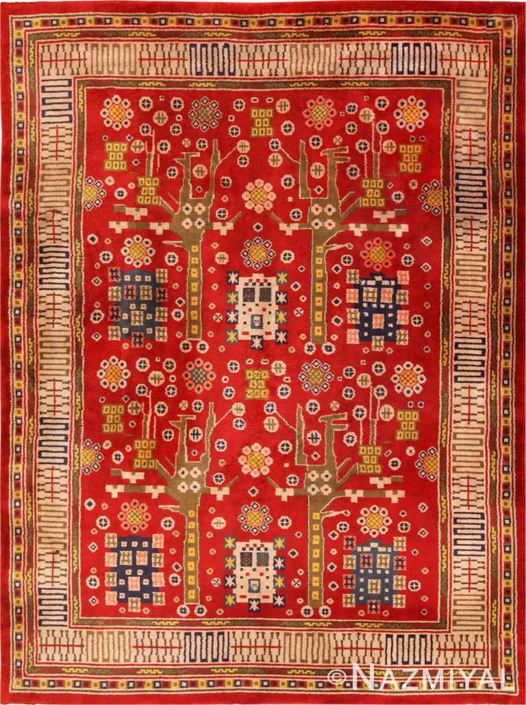 Red Vintage Pile Scandinavian Rug 70239 by Nazmiyal Antique Rugs in NYC
