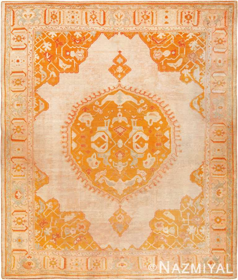 Decorative Antique Turkish Oushak Rug #70177 from Nazmiyal Antique Rugs in NYC