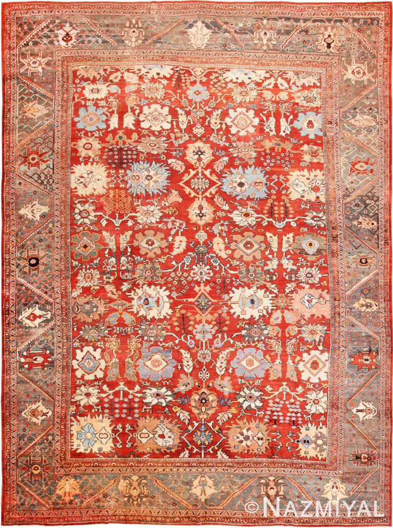 Large Rustic Antique Persian Sultanabad Carpet 70279 from Nazmiyal Antique Rugs in NYC