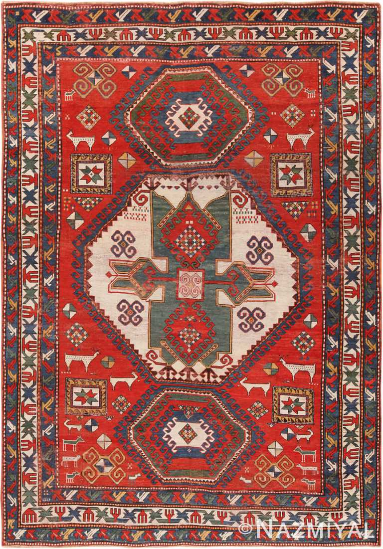Antique Caucasian Kazak Rug 70168 by Nazmiyal NYC