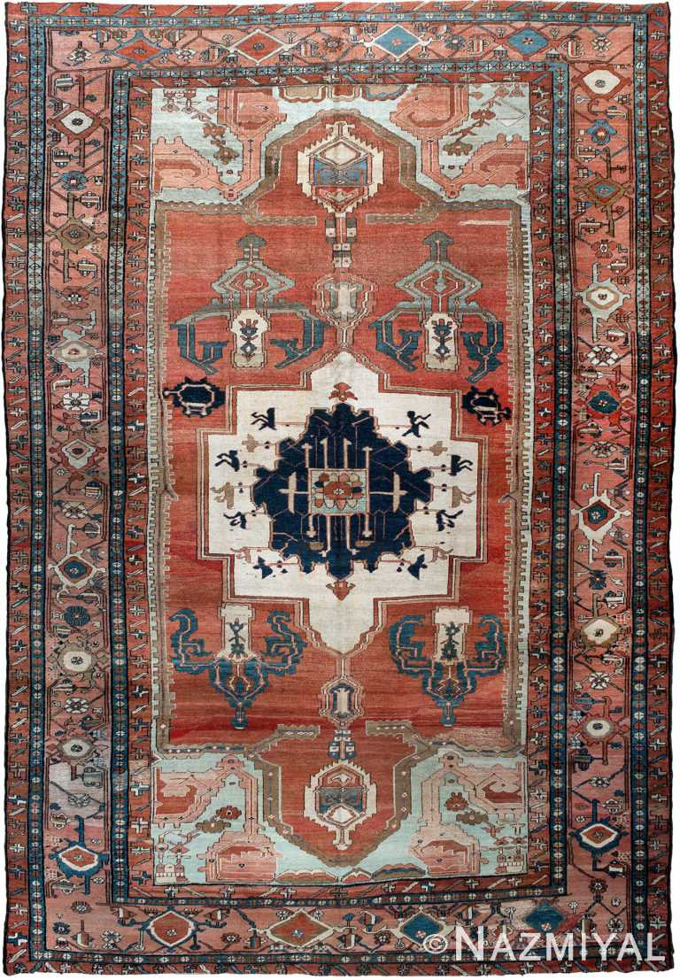 Antique Persian Heriz Serapi Rug by Nazmiyal NYC